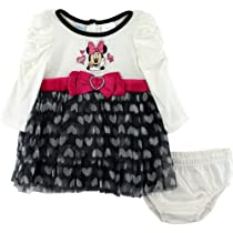 Disney Baby-girls Infant 2 Piece Minnie Mouse Dress Set, Light Beige, 18 Months