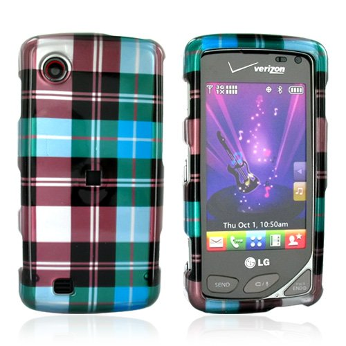 For Verizon LG Chocolate Touch Hard Case Plaid Blue
