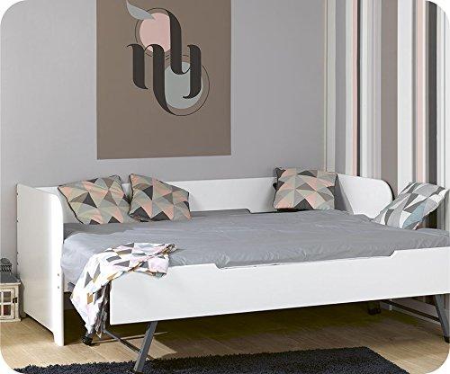 Machambredenfant - Pack Lit Gigogne Bali Blanc 80x200 cm + 2 Matelas