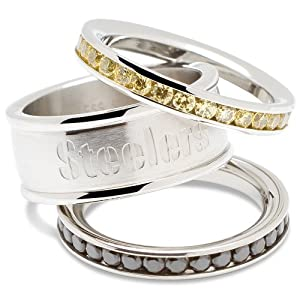 NFL Pittsburgh Steelers Logo Crystal Stacked Ring Set