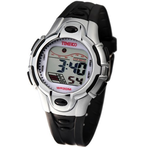 Time100 Kids' LCD Cold Light Multifunction Black Strap Black Button Digital Watches#W40009L.01A