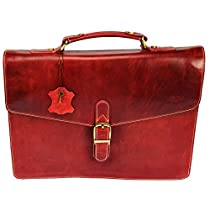 PEZON - Genuine Leather Business Bag - Luxe Red