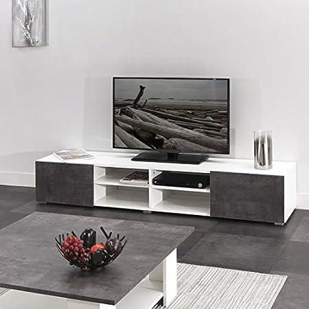 Mueble TV 185cm-blanco y escenario hormigón
