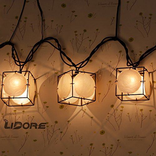 LIDORE Set of 10 Vintage style Square with Seashells String Lights. Ideal for home and simple decor 3