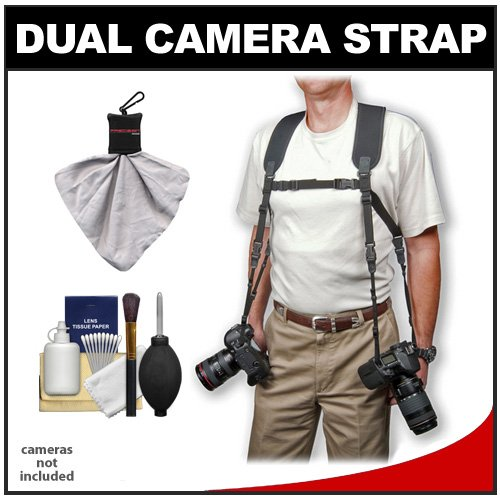 Op/Tech Dual Camera & Binoculars Black Strap Harness (Regular) + Accessory Kit