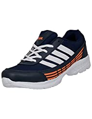Stylar Bravo Synthetic Leather Sports Shoes For Men (Color: Blue And Orange )