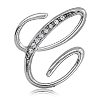 Silver Toned Initial Letter Brooch Pin - C