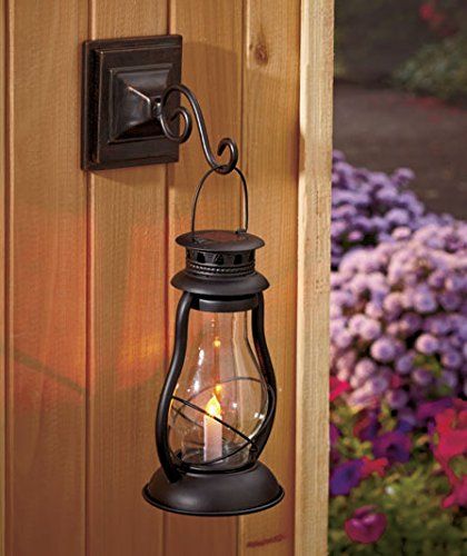 Galleon - Old Fashioned Style Solar Lighted Candle Lantern Lamp Wall Mounted Or Stand Alone