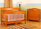 Athena Alice 4-in-1 Crib & Grace I 3 Drawers Changing Table Set (Pecan)
