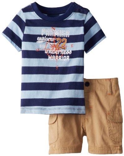 Rugged Bear Baby-Boys 2 Piece Short Set, Blue Stripe, 6-9 Months front-357522