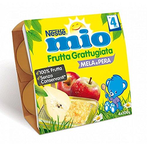 Nestlé Mio Frutta Grattugiata Mela e Pera da 4 Mesi, senza Glutine - Confezione da 4 X 100 gr - Totale: 400 gr