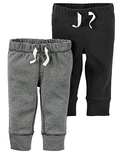 Carter's Baby Boys' 2 Pack Pants (Baby) - Black/Black-Grey Stripe-24M