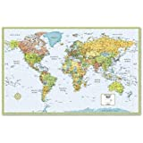 "World Wall Map Deluxe Laminated 50"" x 32"" (M Series Map of the World)"