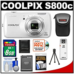 Nikon COOLPIX S800c Android Wi-Fi GPS Digital Camera (White) with 8GB Card + Battery + Case + Accessory Kit