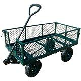 "Sandusky Lee CW3418 Steel Crate Wagon, Green, 400 lb. Load Capacity, 21-3/4"" Height x 34"" Length x 18"" Width"