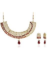 Sia Art Jewellery Set For Women (Golden And Maroon) (AZ1136)