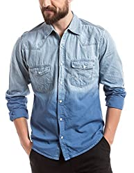 Prym Men's Casual Shirt (8907423012936_2011502481_Medium_Light Indigo Ombre Effect)