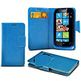 (Baby Blue) Nokia Lumia 610 Protective Mega Thin Faux Leather Suction Pad Wallet Case Cover Skin With Credit/Debit Card Slots Aventus