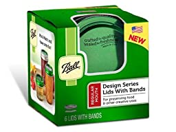 Ball GREEN Regular mouth LIDS & BANDS (rings) for canning/mason jars, NEW! Gorgeous Green Color! A full case of 60 Green lids and 60 Green bands (rings), Limited Edition.