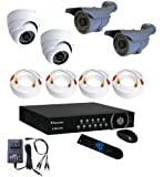 Smart Security Club Surveillance Security Camera System 4CH D1 Wisecomm DVR with 4 Outdoor Weather-Proof CCD (not CMOS) Dome & Bullet Cameras, 1TB HDD