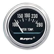 Sunpro CP7956 Electrical Water Temperature Gauge - Black Dial