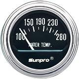 Sunpro CP7956 Electrical Water Temperature Gauge - Black Dial