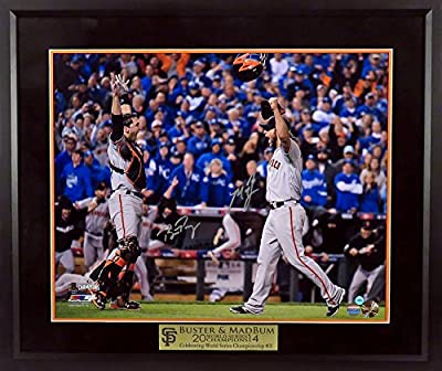 San Francisco Giants Madison Bumgarner & Buster Posey Autographed 2014 World Series Photograph with Floating Plate Framed (COA)