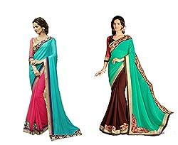 Pragya creations Women's Chiffon Saree (Prag16_Multi)-pack of 2