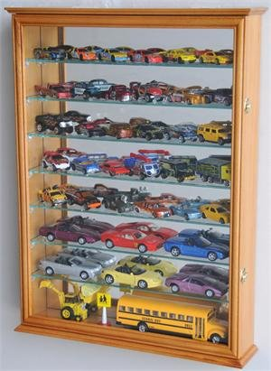 Large Mirrored back Hot Wheels / Matchbox / Diecast / Train Display Case Cabinet, Oak