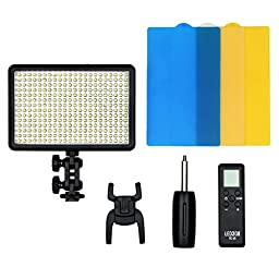 Godox LED 308W Continuous On Camera Video Light Lighting Panel Light 5600K±300K Portable Dimmable for Camcorder DSLR Camera Canon Nikon Sony Panasonic Olympus Fuji etc with TARION Dust Cloth
