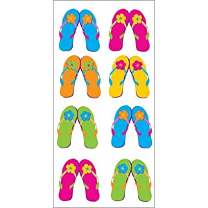 Creative Converting 20 Count Cellophane Treat Bags, Luau Flip Flops