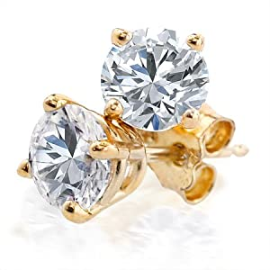 14K Yellow Gold Round Diamond 4-Prong Stud Earrings (1.00ctw, G-H, SI2-I1)