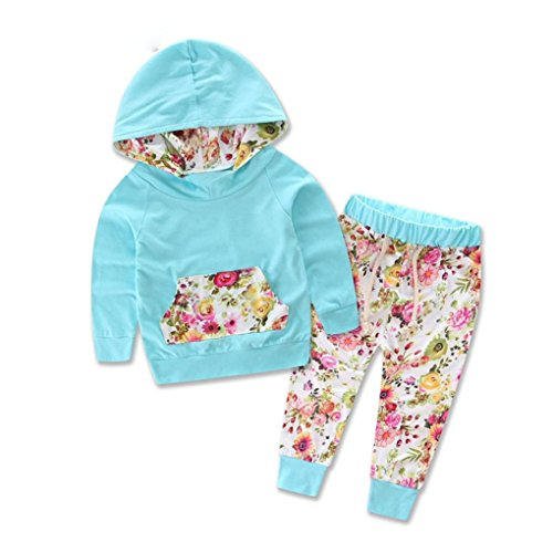Culater® Il bambino scherza manica lunga con stampa floreale Top Pants Outfits (90)