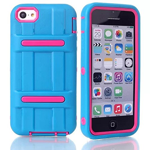 Meaci® Iphone 5C Hard Case 3 In 1 Combo Hybrid Defender High Impact Body Armorbox Hard Pc&Silicone Case With 1X Diamond Anti-Dust Plug Stopper-Random Color (Pink)
