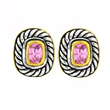 2-tone Vintage Designer-Inspired Earrings w/Pink CZ