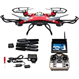 LANDVO JJRC H8D FPV Headless Mode 6-Axis 2.4Ghz Gyro RTF RC Quadcopter Helicopter Drone with 5.8G 2MP HD Camera EU Plug with US Adapter Red Designed with LANDVO Logo