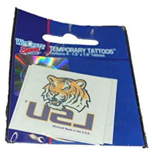 Buy LSU Tigers WinCraft Gameday Tiger Head Temporary Tattoo 4-Pack (Set of 2) by WinCraft