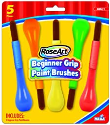 RoseArt Beginner Grip Bulb Paint Brushes, 5-Count, Packaging May Vary (CXV97)