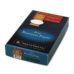 Southworth - 25% Cotton Business Paper, White, 20 lbs., Wove ,8-1/2 x 14, Legal, 500/Bx, FSC 403E (DMi BX by Southworth
