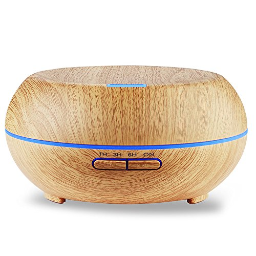 200ml Essential Oil Diffuser, Amir® Electric Wood Grain Cool Mist Aroma Humidifier - 4 Timer Settings, 7 Color Changing LED, 6 Hours Continuous Mist - Waterless Auto off for Office, Study, Bedroom
