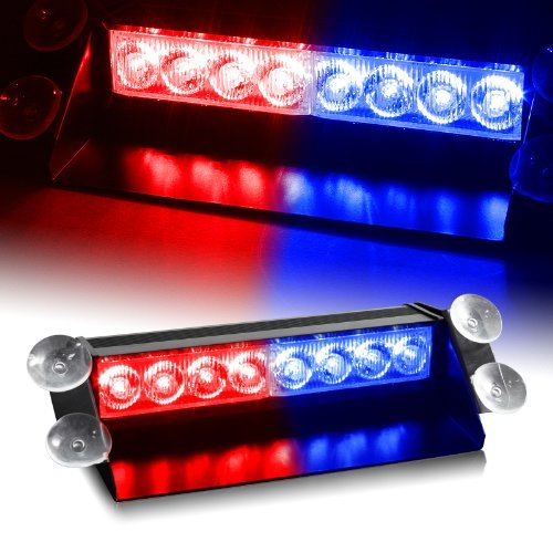 WoneNice 8 LED Strobe Dash / Deck / Windscreen Light Bar Beacon (Red/Blue) (Emergency Blue Light Bar compare prices)