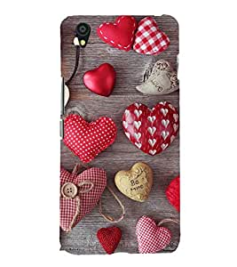 Hearts 3D Hard Polycarbonate Designer Back Case Cover for OnePlus X :: One Plus X :: One+X