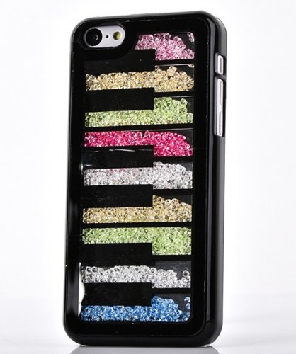 Big Mango Deluxe Bling Colorful Moving Diamond Rhinestone Protective Shell / Hard Back Case Cover For Apple Iphone 5C With Piano Keys Design ( At&T, Sprint, Verizon ) - Black