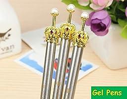 Vantage Pen Gel Black Crown Pearl Cute Princess Pen Stationery Ball Point Pen Office Fashion Gifts