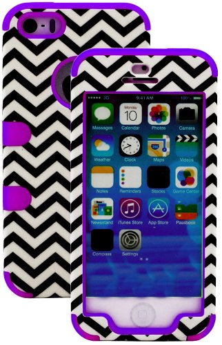 Mylife Vibrant Purple And Black - Chevron Series (Neo Hypergrip Flex Gel) 3 Piece Case For Iphone 5/5S (5G) 5Th Generation Smartphone By Apple (External 2 Piece Fitted On Hard Rubberized Plates + Internal Soft Silicone Easy Grip Bumper Gel)