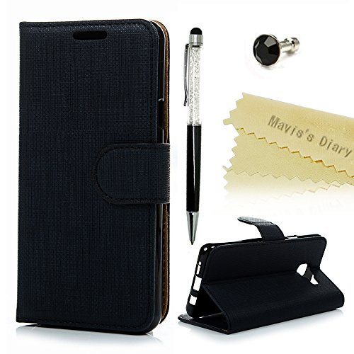 Mavis's Diary Étui Samsung Galaxy A5(version 2016) Coque en Cuir Noir Protection Flip Housse Portefeuille Étui à Rabat avec Support+Noir Bouchon Anti-poussière+Noir Stylet Écran Tactile+Chiffon
