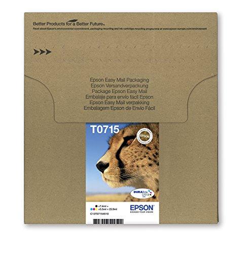 Epson T0715 Cartouche d'encre d'origine DURABrite Ultra Multipack Noir, Cyan, Magenta, Jaune [Emballage « Déballer sans s'énerver par Amazon »]
