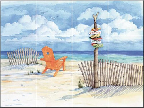Beach Signs Oceanviewby Paul Brent - Kitchen Backsplash / Bathroom wall Tile Mural