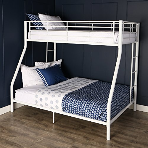 Walker Edison Bunk Beds Twin Over Full White Furniture Bedroom Set Kids Safety Ebay