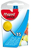 Maped Large Round Head Push Pins in Reusable Plastic Case, 15 Pins per Box, Assorted Colors (343011ZC)